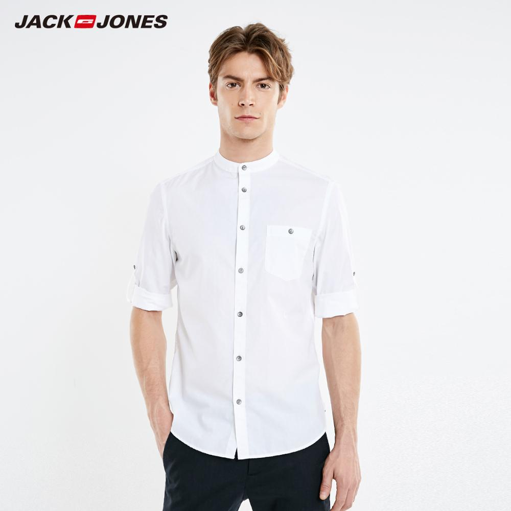 JackJones Men's 100% Cotton 3D Embroidery 3/4 Sleeves Stand-up Collar Shirt Menswear Style| 219131511