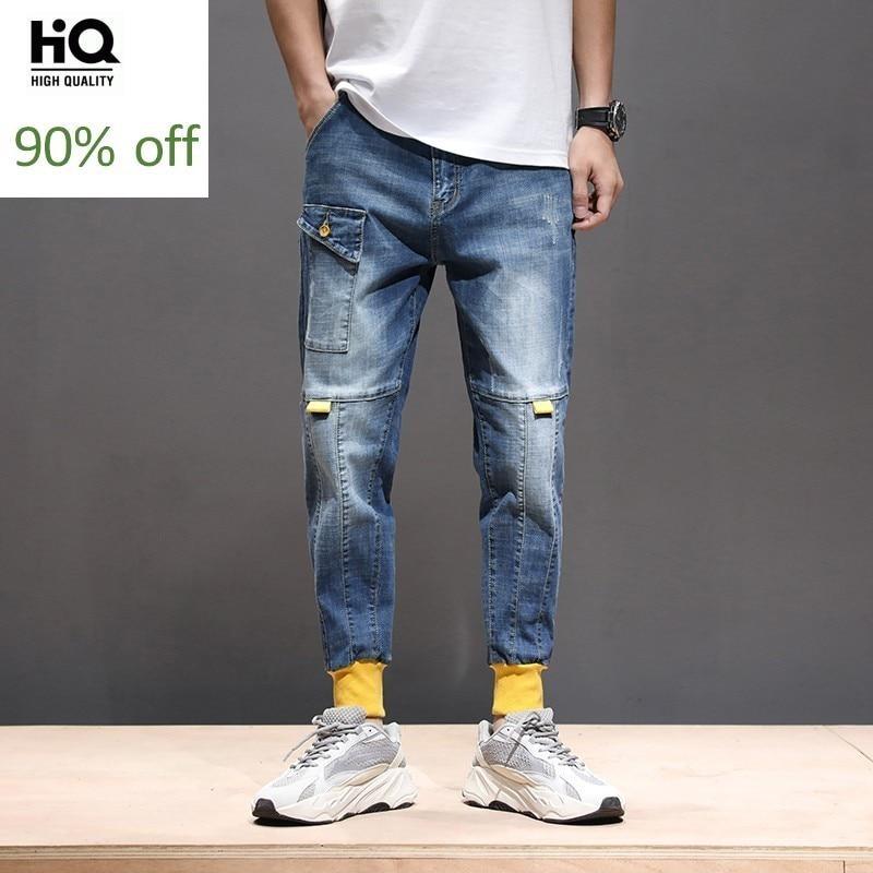 Spring Autumn Mens Stretch Vintage Harem Denim Pants Frayed Pocekts Print Patchwork Jogging Pants Plus Size Male Loose Jeans