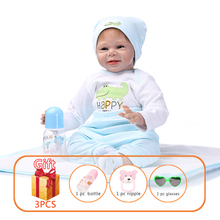 NPK 55cm Baby Reborn Doll Soft Silicone Bebe Golden Hair Smile Angel Boy Cotton Body Limbs Toys For Children