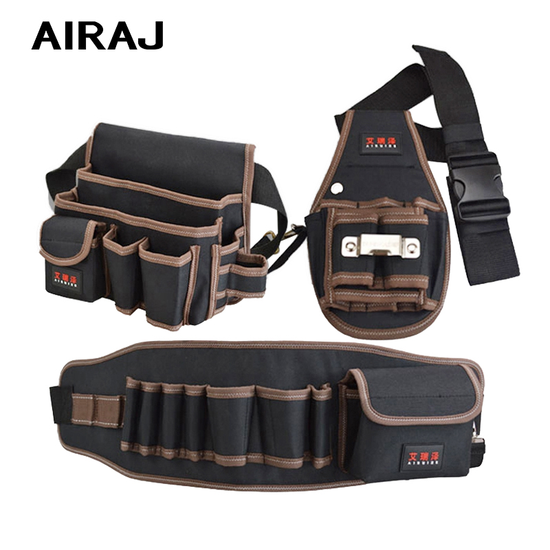 AIRAJ Hardware Waist Tool Storage Bag With Belt Professional Electrician Military Double Layer Oxford Fabric Polyester Toolkit