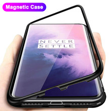 Manyetik adsorpsiyon Metal kasa OnePlus 8 7 7T Pro 6 6T 5T geri temperli cam kapak oneplus 7 6T mıknatıs kapak çapa Coque