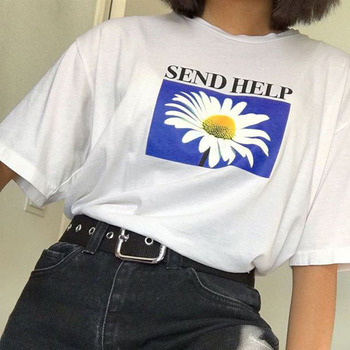 Flower Printed T-shirts Women 2019 Summer Daisy Letter Printing Top Tees White Casual Short Sleeve Harajuku Female Clothing