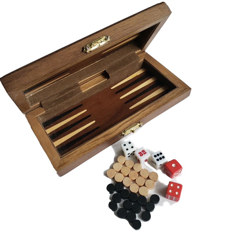 High Quality Portable Folding Wooden Backgammon Checkers Chess Set Handwork Solid Wood Pieces Children's Gift Crafts Board Games