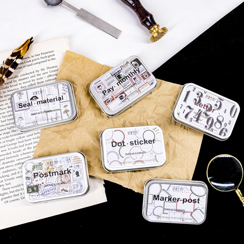 60 Pcs/bag Iron Box Vintage Postmark Mini Paper Sticker Decoration Stickers DIY Diary Scrapbooking Planner Label Sticker