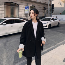 Large Size Korean Ladies Blazer Solid Black Loose Casual Simple Suit Jacket Long Sleeve Retro Spring Women Blazer New MM60NXZ