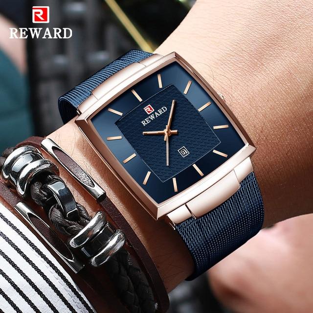 REWARD Ultra thin Square Quartz Watch Men Watches relogio masculino Top Luxury Wrist Watches Steel Waterproof Male Clock