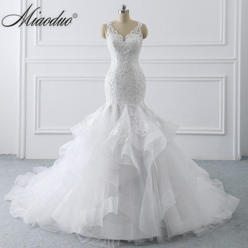 Miaoduo Sexy Mermaid Lace Backless Wedding Dresses 2019 V Neck Beach Bridal Gowns Ruffled Skirt Plus Size Boho Vestidos De Novia