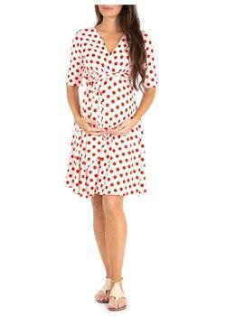 2020 Women High-low Surplice Wrap With Waist Belt Maternity Dress Adjustable V Neck Nursing Dress Breastfeeding Pregnant Clothes surplice gingham belted dress