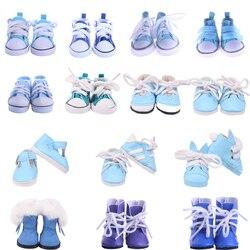 Sapatos de boneca orelhas coelho sapatos azuis alta qualidade feito à mão caber 14.5 Polegada boneca para o bebê nascido boneca presente aniversário 5 cm roupas boneca