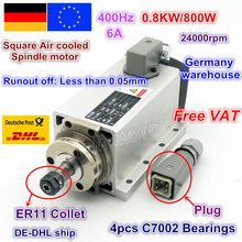 цена на DE ship Square 0.8KW 800W Air cooled Spindle motor ER11 6.5A 24000rpm 400Hz 220V for CNC Router ENGRAVING MILLING GRIND Machine