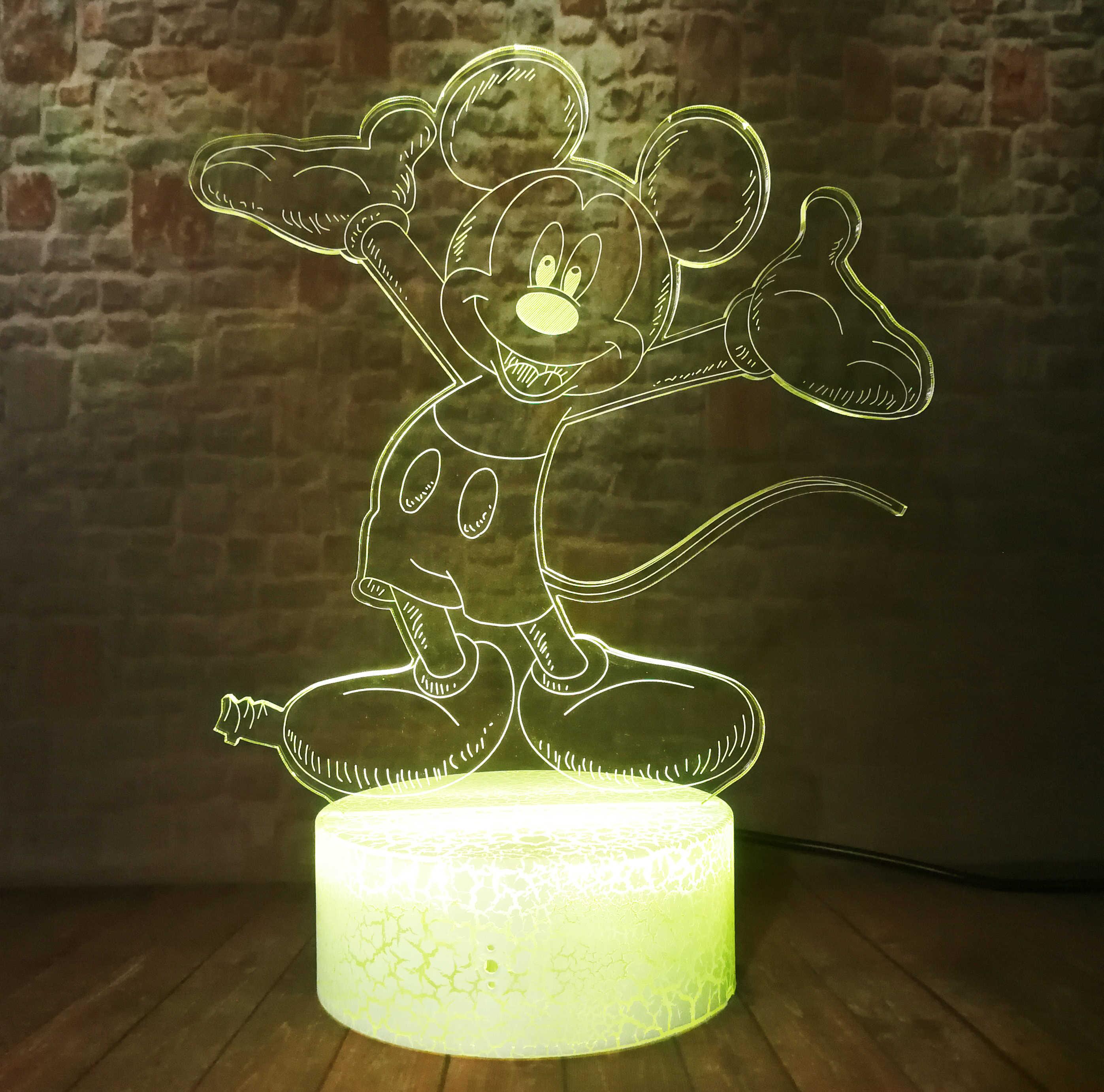 3D Smart Mickey Mouse Kartun Modeling LED Lampu Malam Touch Lampu Meja Meja Lampu 7 Warna Perubahan Retak Minnie Kamar Anak Cowok dekorasi Hadiah