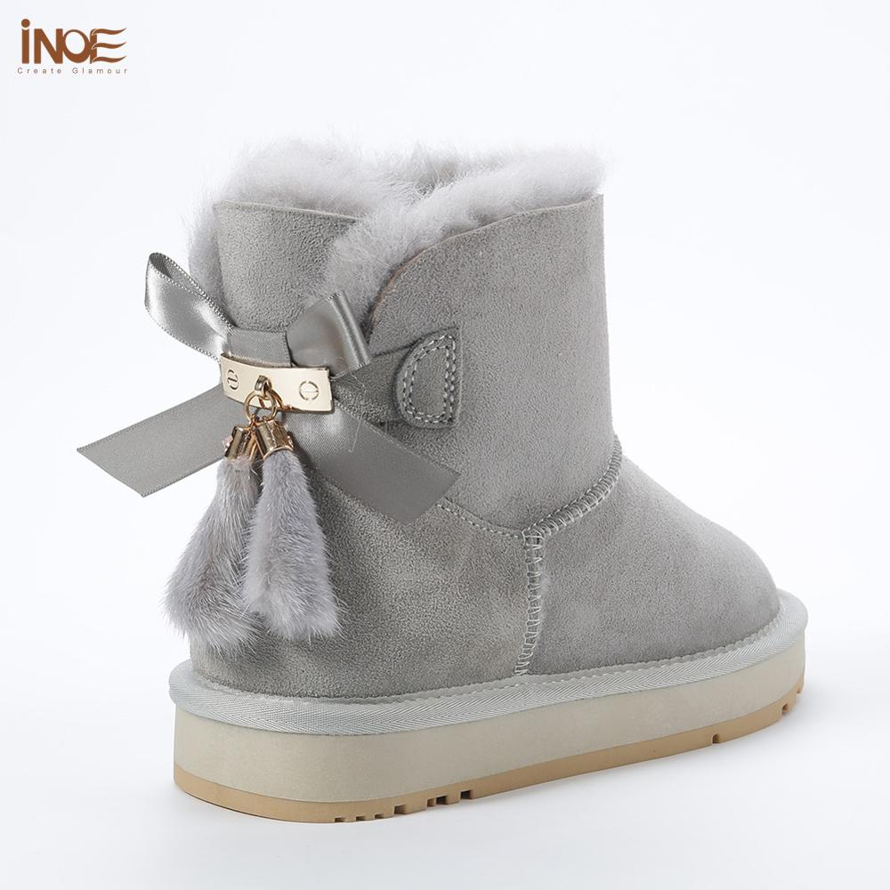 INOE Sheepskin Leather Wool Fur Lined Women Short Ankle Winter Suede Snow Boots with Bowknots Mink Fur Tassels Keep Warm Shoes