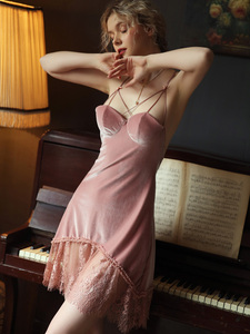Image 3 - Sexy Velvet Nightdress Woman Lace V neck Nightgown Sleepwear Back Suspender with Breast Pad Small Chest Temptation Nightwear