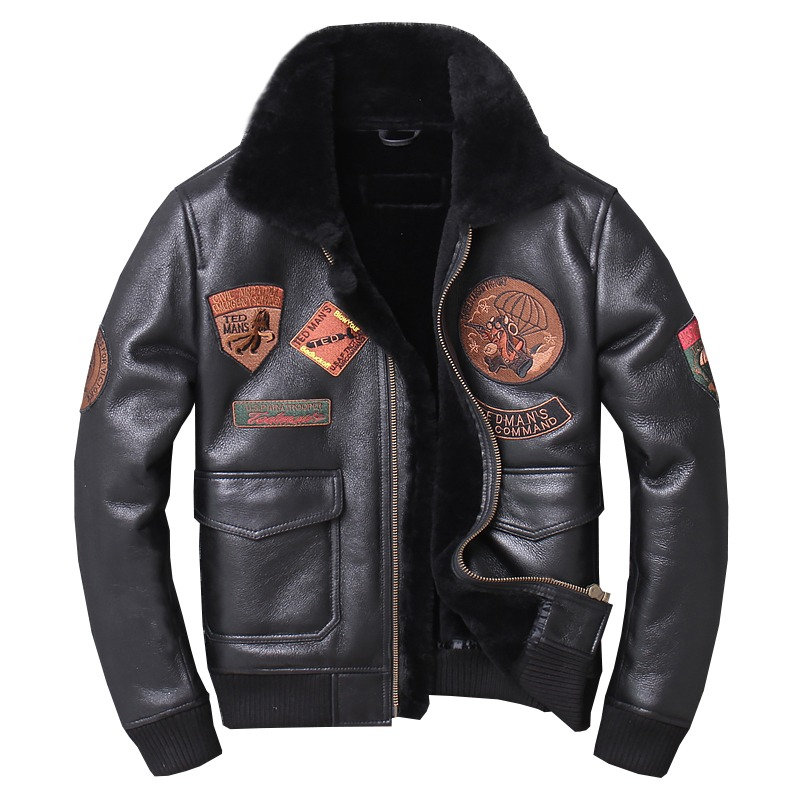Mens Real BLACK Leather Aviator Flight Pilot Top Gun Style Bomber Jacket S-3XL
