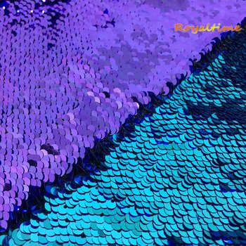 Double Face Sequins Fabric For Handbags Garments DIY Tissue Sewing Fabric Material Craft Making Accessories-Turquoise/Purple image