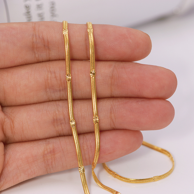 XP Jewelry -- ( 50 cm x 2 mm ) 20 inch Emboss Small Snake Necklaces for Men Women 24 k Pure Gold Color Fashion Jewelry Nickel Fr