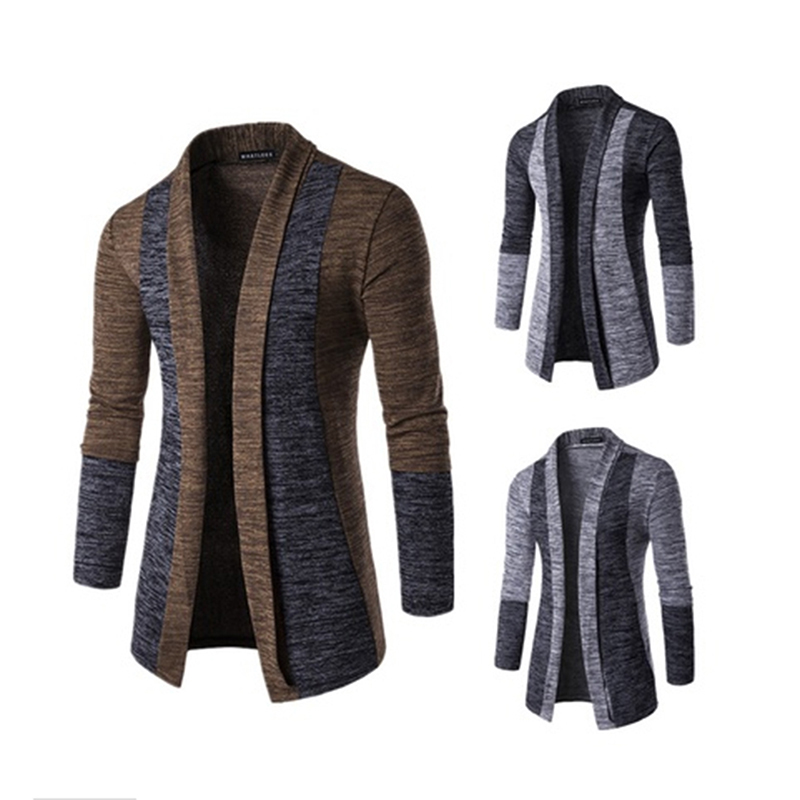 Newest Men Cardigan Casual Elastic Sweater Coat Tops Outwear Sweater Jogger Men Autumn Spring Sweatercoat
