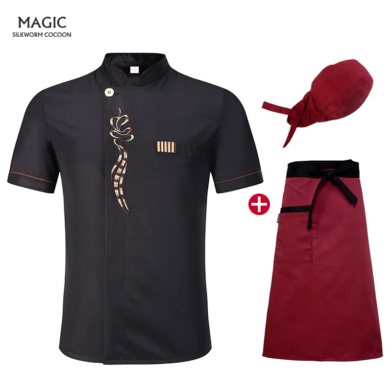 Breathable Summer Chef Bakery Food Service Unisex Kitchen Chef Uniform Kitchen Cook Short-sleeve Cook Wear+hat+apron+chefs Hat