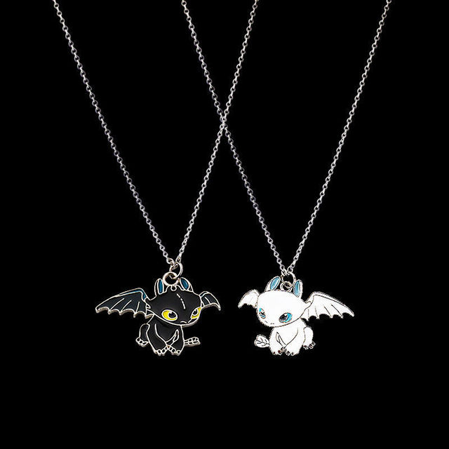 Fashion Cartoon Necklace Black and White Night Evil Double Dragon Personality Hip Hop Couple Friends Gift Pendant 4