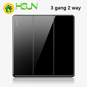 High-grade 1 2 3 4 gang 1 2 way big panel black switch socket Type 86 Wall 2.5D Cambered Mirror Toughened glass Computer TV 16