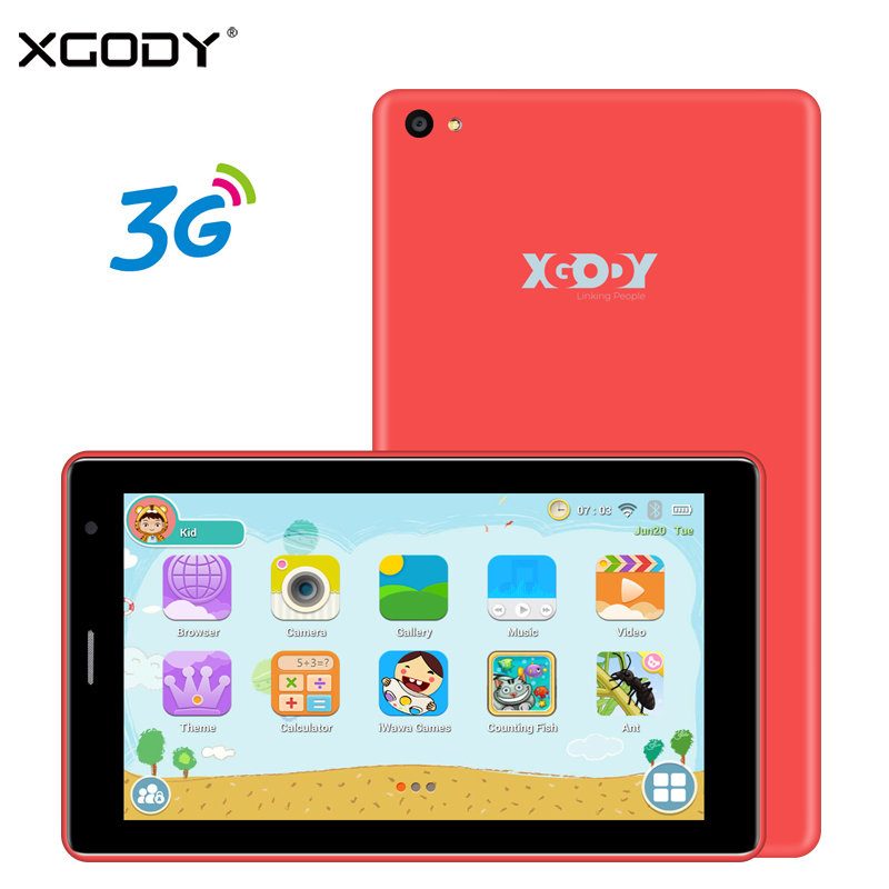 XGODY X701 7 Inch 3G Kids Tablet PC Children Phone Call Tablets Android 6.0 1GB 16GB 1024*600 GPS WiFi 5MP Dual Camera Phablet