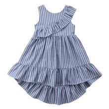 Toddler Kid Baby Girl Summer Striped Princess Party Pageant Ruffle Dress Kids Girls Sleeveless Princess Dress детское платье girls ruffle detail striped dress