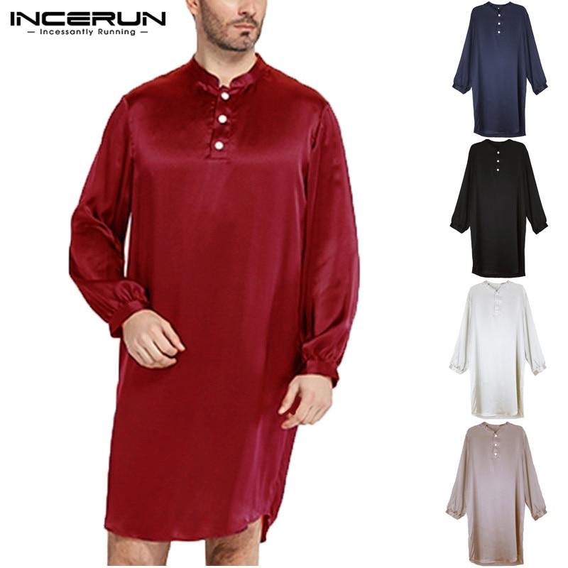 INCERUN Men Pajamas Robes Faux Silk Satin Long Sleeve Solid Bathrobe Homewear Men Soft Casual Men Sleepwear Robes Plus Size 2020