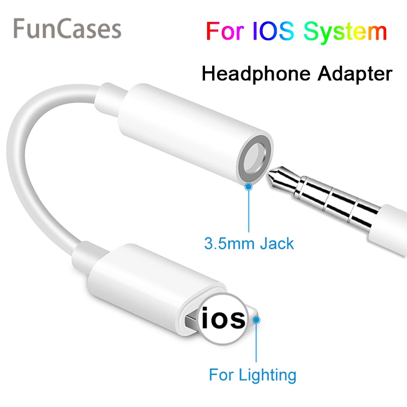 For IOS Syetem Headphone Adaptador For IPhone 7 8 X AUX Audio Adapter For Lightning To 3.5mm Adapters Headphone Jack Cable