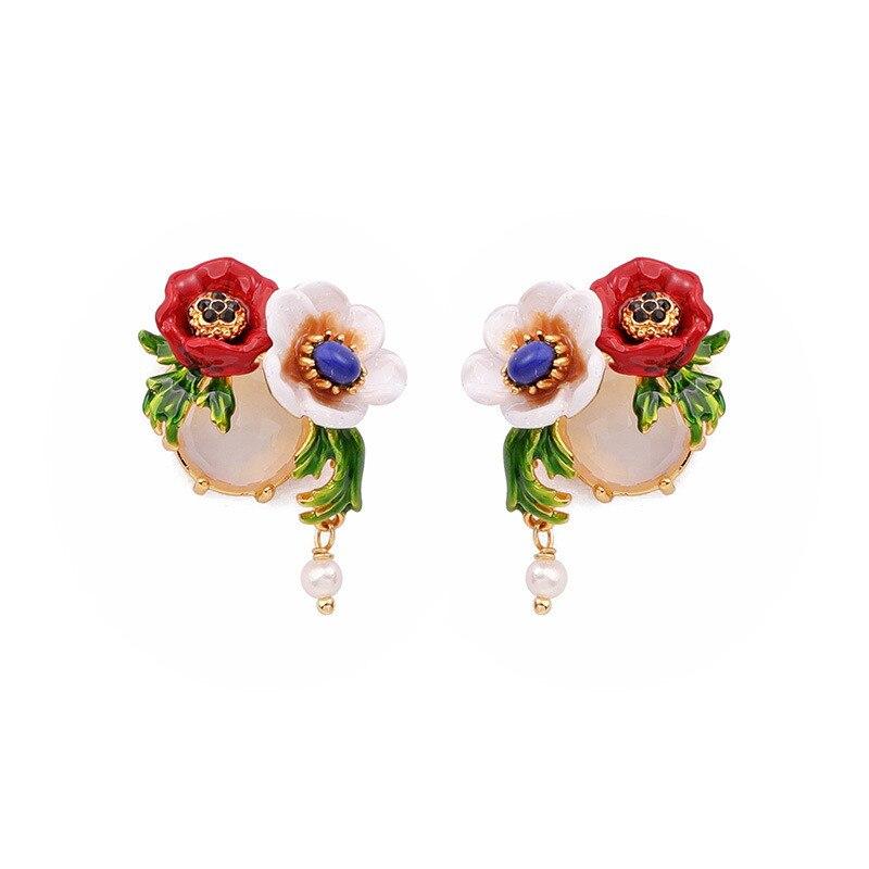 Femmes mode boucles d'oreilles sauvage nouveau peint à la main émail bicolore fleur gemme élégant boucles d'oreilles dames fête bijoux de mariage