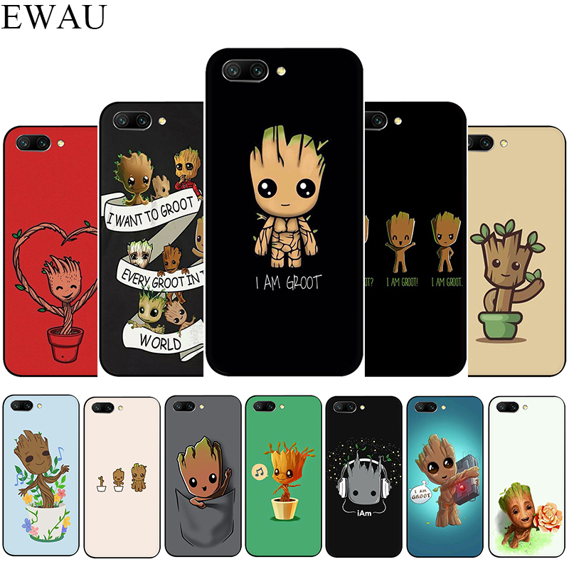 EWAU <font><b>Marvel</b></font> cute cartoon Groot Silicone <font><b>phone</b></font> <font><b>case</b></font> for Huawei <font><b>Honor</b></font> 6A 7A Pro 7C 7X 8X 8 <font><b>9</b></font> Note 10 <font><b>Lite</b></font> view 20 9X Pro image