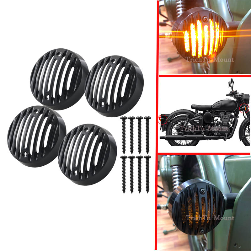 4pcs Alloy Black Protector Indicator Blinker Grill Cover For Royal Enfield Classic 500 Models Turn Signal Lights Trim Grills Cap