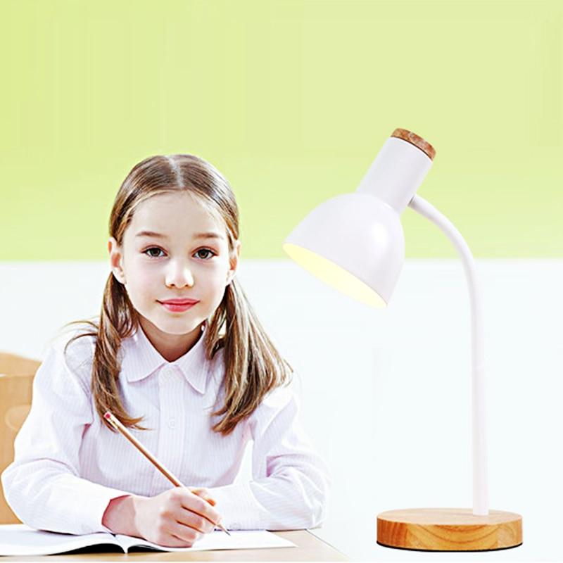 Creative Wooden Art Iron LED Folding Nordic Desk Lamp Eye Protection Reading Table Lamp Living Room