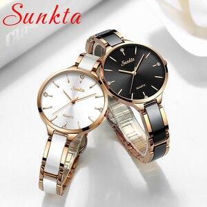 Image 3 - Sunkta relógio feminino relógio de cerâmica feminino simples diamante relógio de moda casual esporte relógio de pulso à prova dwaterproof água relogio feminino