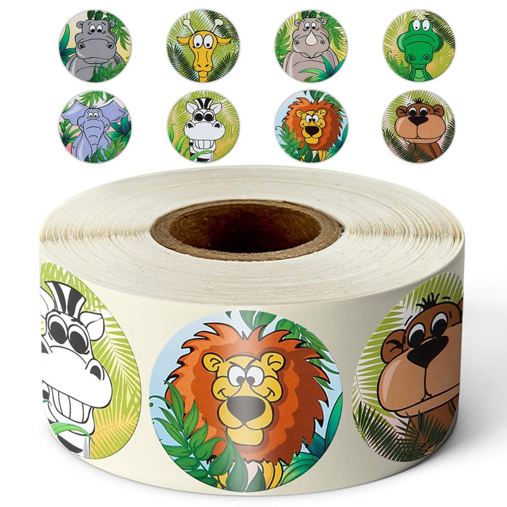 500 Pcs / Roll Zoo Cartoon Animal Stickers 8 Design Stickers For Children's Classic Toys Stickers School Reward Kids Stickers