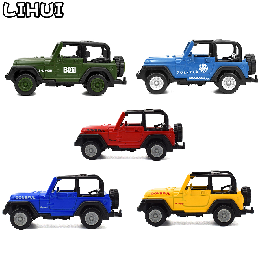 5 Colors Kids Toy Alloy Diecast Jeeps Wrangler Open Top Off Road Vehicles Mini Model Toys For Children Boys Glide Car Toy Gifts