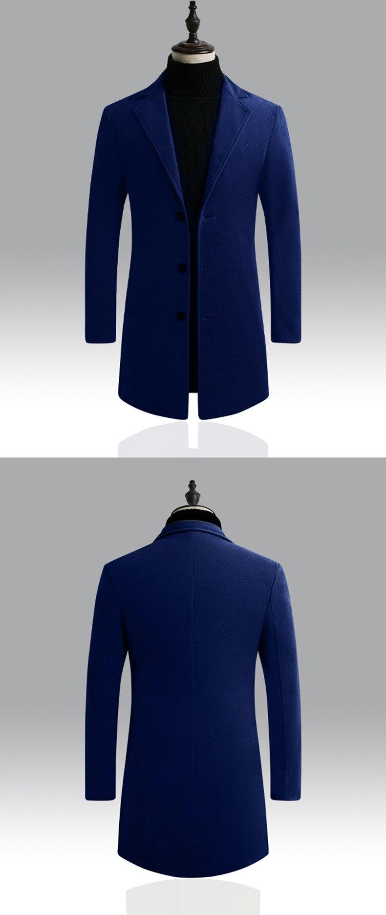 casaco de lã masculino cashmere misturado longo
