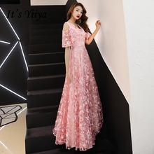 Женское длинное вечернее платье it's yiiya розовое ТРАПЕЦИЕВИДНОЕ