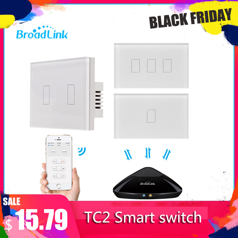 Broadlink TC2 3Gang 433MHZ Connection Wall Touch Panel Light Switch Remote Control US Standard For Smart Home System 2019New