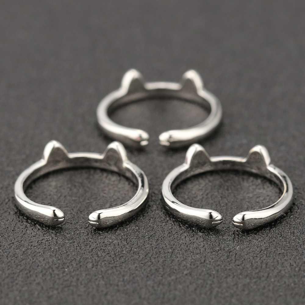 고양이 귀 반지 키티 개 발톱 발 귀여운 조정 가능한 블랙 핑크 실버 컬러 에나멜 패션 단순 Dainty 동물 쥬얼리 도매