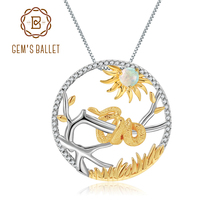 GEMS BALLET 925 Sterling Silver Snake 12 Chinese Zodiac Jewelry Natural African Opal Gemstone Pendant Necklace For Women