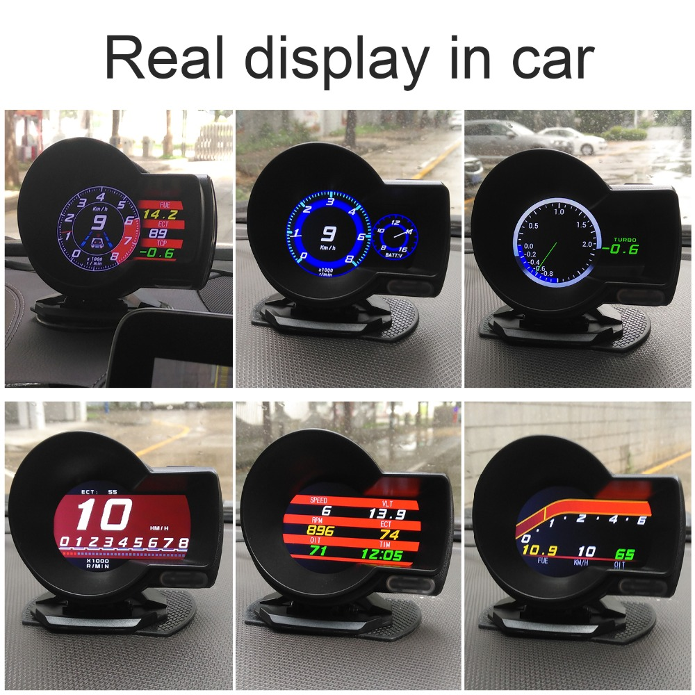 Image 5 - OBDHUD Car Electronics OBD2 Gauge   F8 Head Up Display Turbine Pressure OBD Multifunctional LCD Instrument for Automobile-in Head-up Display from Automobiles & Motorcycles