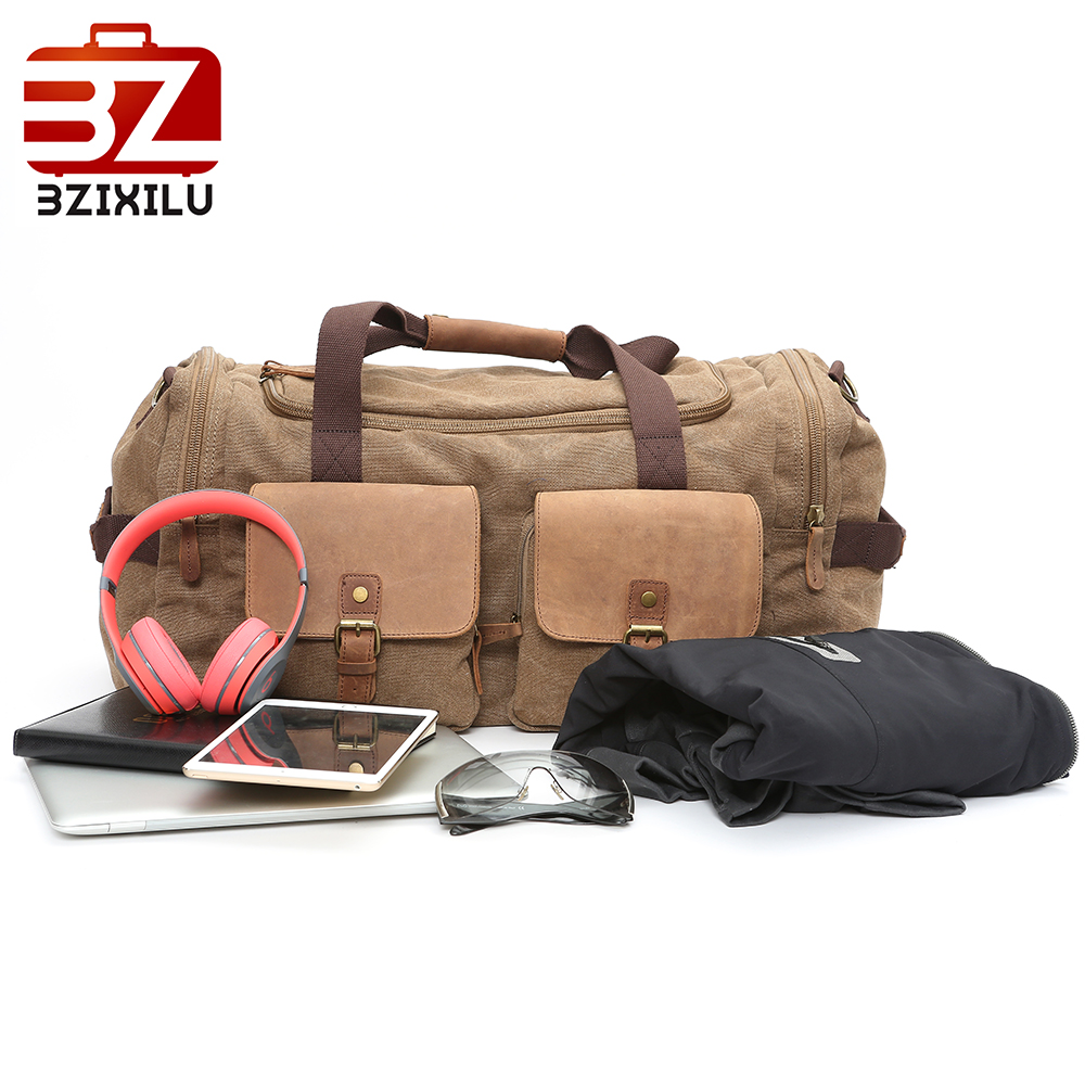 BZIXILU fashion soft men/women travel bags hand luggage travel weekend bag men/women zipper canvas weekender bag travel duffle
