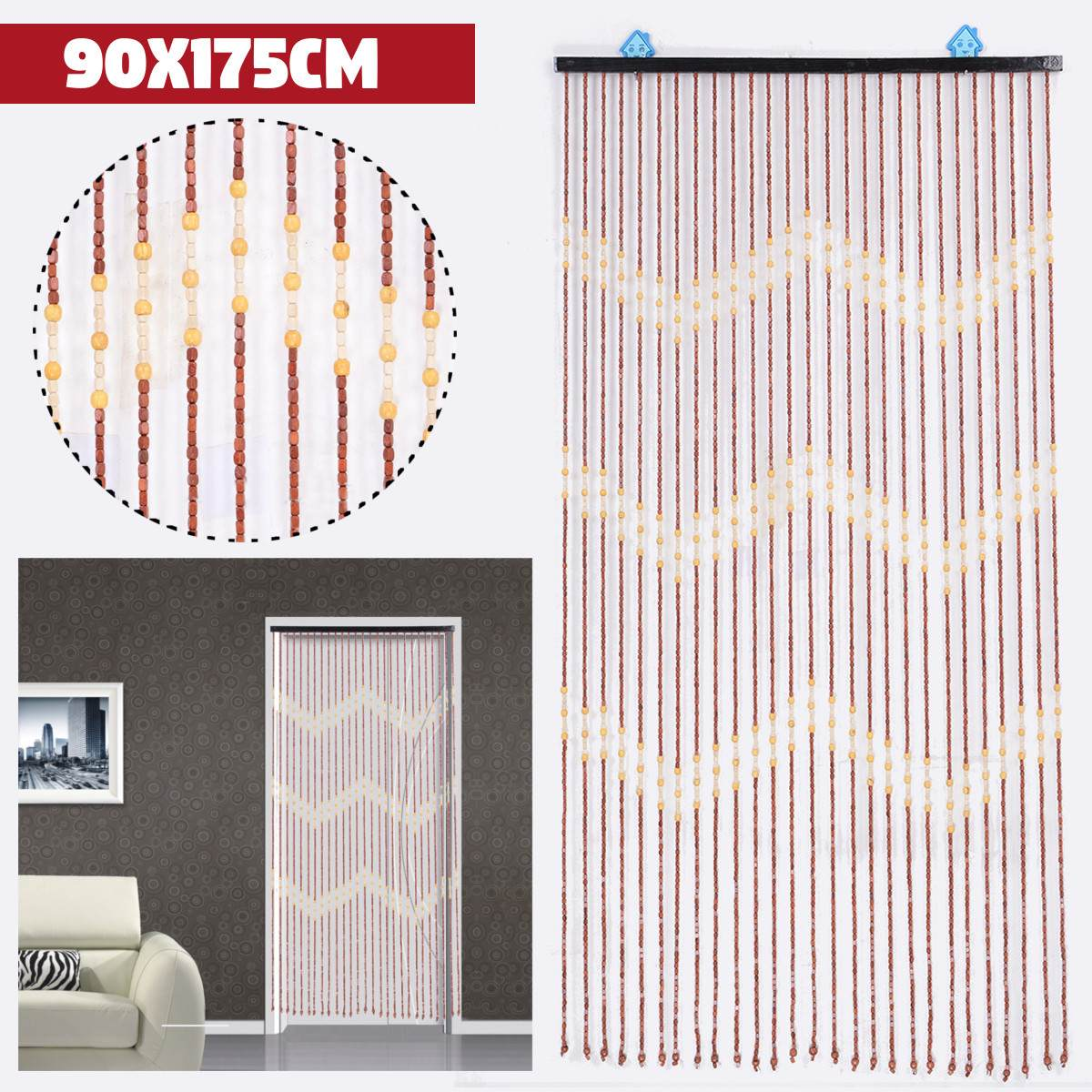 90x175cm 27 Line Wave Wooden Beads Curtain Handmade Fly Screen Wooden Door Curtain Blinds For Porch Bedroom Living Room Divider