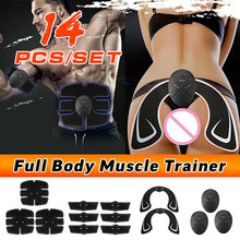 14pcs Butt Lifting Full Body Weight Loss Stickers Abdominal Training Slimming Belt Electric Massager EMS Muscle Stimulator Set