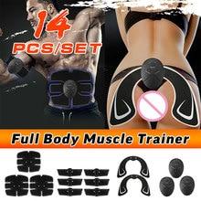 14шт стыковой подъема тела Потеря веса наклейки тренировки живота пояс для похудения Электрический массажер EMS мышц стимулятор набор