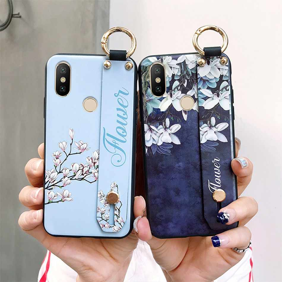 Axbety untuk iPhone 7 6 XR 8 Plus X Max Fashion Bunga Kartun Lanyard Loop Stand Phone Case untuk iPhone X 8 6 S Plus Cover Coque
