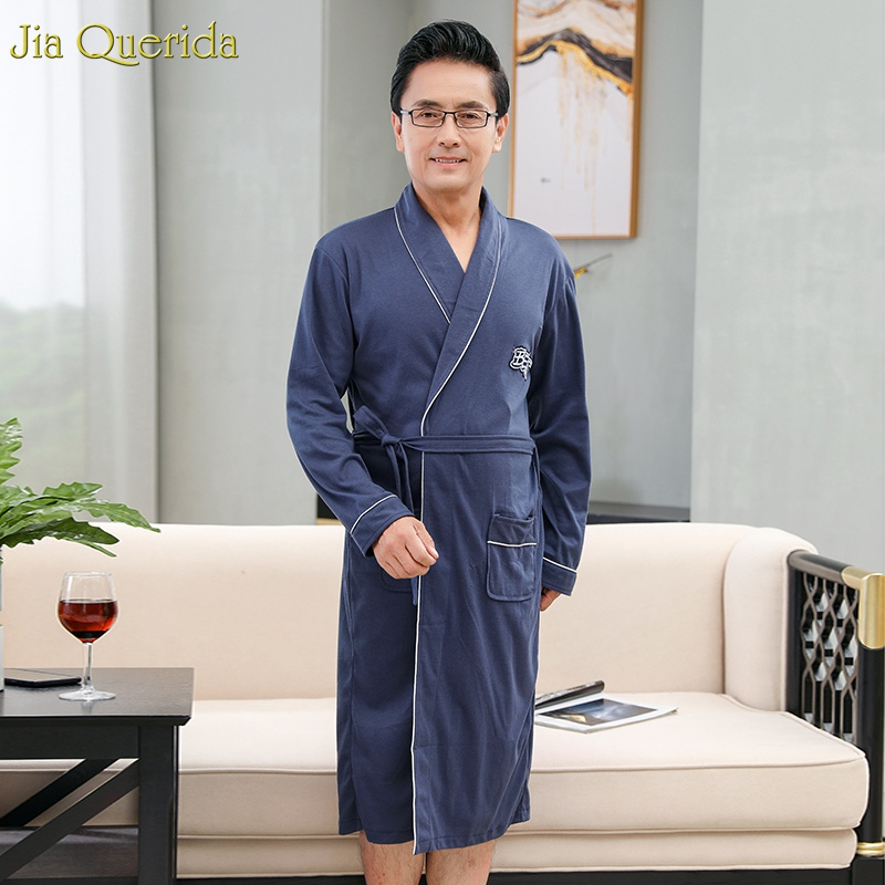 Kimono Men Japanese Bathrobe Sleepwear Plus-Size Cotton Solid Royal-Blue BELTED Autumn