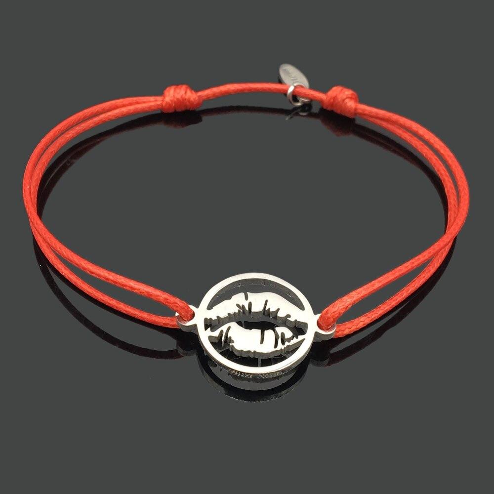 2 шт браслет желаний из нержавеющей стали, регулируемый шнур, хороший браслет, приносящий удачу, красный браслет дружбы - Окраска металла: stainless sex lips