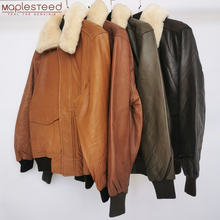 Clearance Sale!!! 100% Sheepskin Soft Men Leather Jacket Quilted Flight Jacket Men Skin Coat Collar Removable Early Winter M176