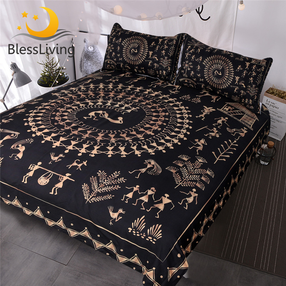 BlessLiving Egyptian Black And Gold Bedding Sets Ancient Art Gold Comforter Cover Yellow Decorative 3 Piece Duvet Cover Set